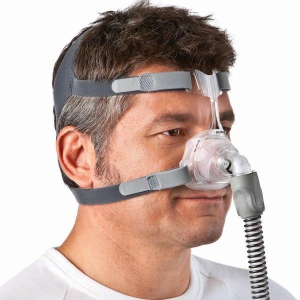 ResMed Mirage FX Nasal Mask Product Hero Side View Demonstration Image | Free delivery Australia wide on all orders over $200